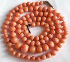 "19.5"" Victorian Natural Mediterranean Coral 4-7.7mm Bead Necklace-Original Clasp"