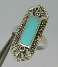 Style Ancien Argent Sterling Turquoise & Marcassite Bague GB R-6.6 Grammes
