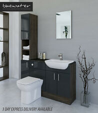 ANTHRACITE / MALI WENGE BATHROOM FITTED FURNITURE 1400MM WITH TALL UNIT