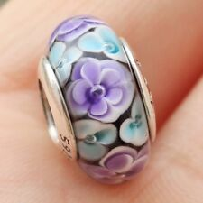 S925 Sterling Silver Flower Garden Purple Murano Glass Charm Bead Fit Bracelet