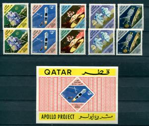 QATAR 1967 APOLLO PROJECT FULL SET WITH SOUVENIR SHEET MNH