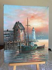"8x10"" Unframed Max Savy Oil On Canvas Beautiful Harbor Lighthouse"