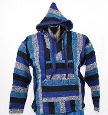 Mexican Baja hoodie surf pullover jacket black blue unisex size XXL drug rug