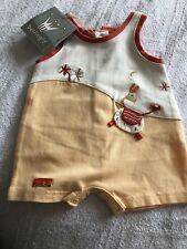Berlingot Baby Romper Early Baby Size 50cms In Orange And Cream Bnwt Retail £18