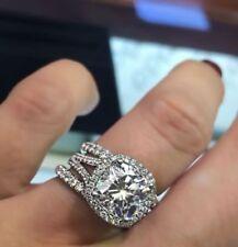 4.12ct White Cushion Cut Diamond Two Band Engagement Wedding Ring Set 925 Silver