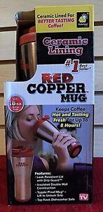 Red Copper Coffee Mug - Ceramic Lining - 16 oz. - NEW
