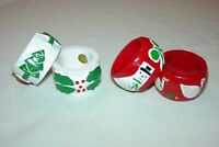 Set of 4 Christmas Napkin Rings Wood Handpainted White Red and Green