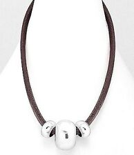 """Brown Leather Rhodium Plated Stainless Steel Triple Bead Statement Necklace 19"""""""