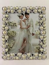 Bilderrahmen mit Weiße Perlen Foto Fotorahmen Rahmen 20x25 Metall Silber Neu