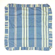 Waverly Striped Euro Pillow Sham Blue Yellow Ruffled