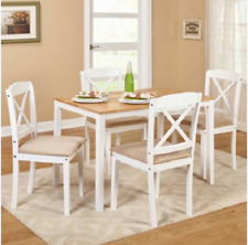 Dining Table Set Wood Kitchen Table And Chairs 5 Piece White Small Farmhouse
