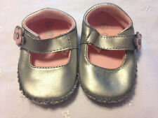 Teeny Toes, Silver Floral Mary Jane Flats, Baby Girl, Size 2
