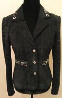 AMI Womens Suede Leather Sweater Biker Jacket Blazer Small Black Silver Accents