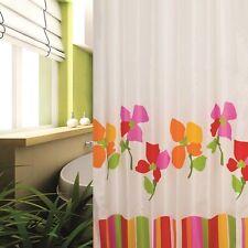 Rideau de douche en tissu 240x200 cm blanc multicolore rouge jaune vert +