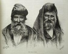 1890:SARDEGNA,COSTUMI=Ritratto di Due vecchi di SORSO=SASSARI.In Passepartout.