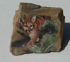 """Beautiful Oil on Granite of a Cougar with Artists Monogram - about 3 1/2"""" x 4"""""""