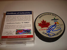 Shea Weber Signed Team Canada 2010 Vancouver Olympic Gold Hockey Puck PSA/DNA a
