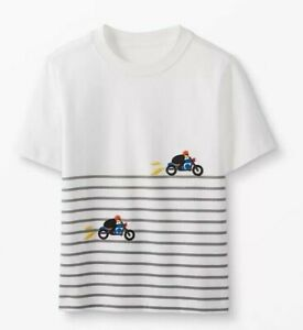 HANNA ANDERSSON Off-White/Gray Striped S/S Tee / Motorcycle NWT Boys 4 (Eur 100)