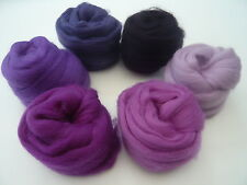 Heidifeathers Merino Wool Tops - 'Perfect Purples' - Felting Wool
