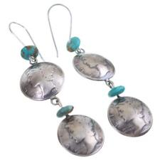 """Navajo Turquoise Earrings Sterling Silver """"Squash Blossom"""" Old Mercury Dimes"""
