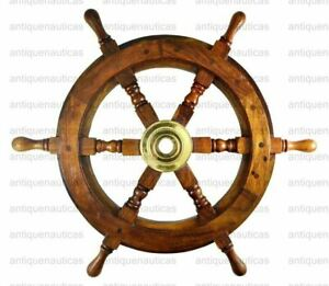 """Vintage Style Collectibles Nautical 30"""" Wooden Maritime Ship Steering Wheel"""