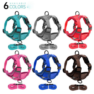Reflective Nylon Pet Harness Adjustable Breathable with Pull Vest Lead S M L XL