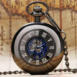 Fashiom Black Mechanical Handwinding Pocket Watch Men Women FOB Chain Gift