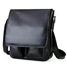 Men's Genuine Leather Black Shoulder Messenger Bag Cross Body Satchel iPad Case