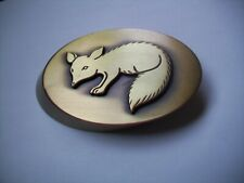 Solid Brass Oval Paperweight Weight- FOX, ANIMAL design -desk accessory