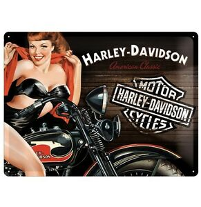 Targa Insegna Metallo Harley Davidson American Classic Pin up Idea Regalo 40x30