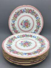 "Set of 6 Shelley England Bone China ""Pompadour""Tea Plates 13516 Floral Gold Trim"