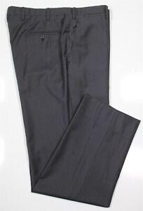 Kiton Current Solid Dark Gray Flat Front Handmade Wool Dress Pants 34 x 30