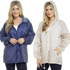 Womens Rain Mac Lightweight Showerproof Hooded Festival Jacket Kagool in a Bag Polka Dot Navy Large