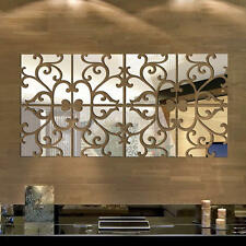 3D Mirror Tile Wall Sticker Decal DIY Home Room Art Mural Decor Mosaic Removable
