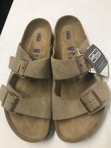 Men's new Birkenstock Arizona taupe suede soft footbed slide sandals 10 R / 43