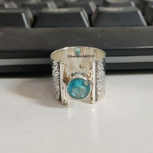 Blue Topaz Ring Band Ring 925 Sterling Silver Plated Handmade Ring Size 6.5 JP18
