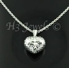 3-d  18k solid white gold pop heart pendant  h3jewels #996 ultralight