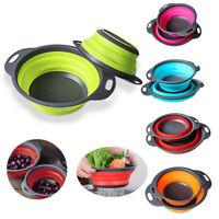 Folding Collapsible Colander Strainer Fruit Vegetable Kitchen Tool Filter Basket