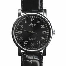 Luch 38mm Boîtier Chromé, Bracelet Noir en Cuir, Montre pour Homme (37471763)