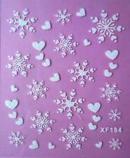 White Snowflake Heart Love Tattoos Frozen Winter 3D Nail Art Stickers XF184