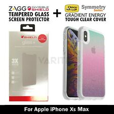 ZAGG Glass Screen Protector + Otterbox Clear Gradient Case Cover - IPhone Xs Max