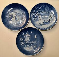 3 Copenhagen B & G Porcelain Blue Christmas Plate Lot 1970 1980 1983