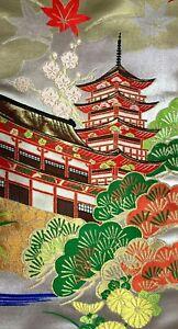 Vintage SILK/METALLIC Japanese FURISODE Kimono Fabric Panel  #F8c