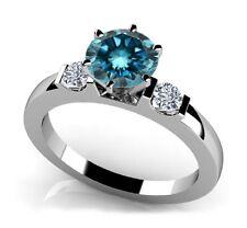 0.50 Ct Glowing Blue & White Diamond Past Present Future Engagement Ring ASAAR
