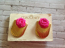 Vintage gold tone shell shape COROCRAFT earrings with fuscia  pink roses