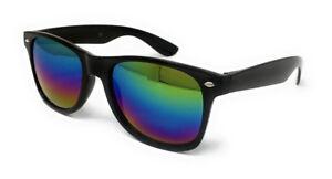 Classic Black Lens Sunglasses Mens Ladies Womens Neon Retro Fashion 80s UV400 UK