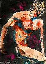 "abstract male nude 8x11 acrylic painting ""Hector"" by artist Anninos"