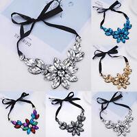Large Rhinestone Crystal Flower Collar Statement Bib Pendant Chain Necklaces