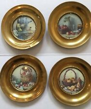 Set Of Four Vintage Prints With Round Brass Frame 6� Kitchen Fruit Still Life