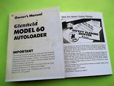 GLENFIELD MODEL 60 OWNER's MANUAL FOR .22 CAL SEMI-AUTO RIFLE dated 09/1979